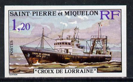 St Pierre & Miquelon 1976 Stern Trawlers 1f20 (Croix de Lorraine) imperf proofin issued colours unmounted mint, SG 550*