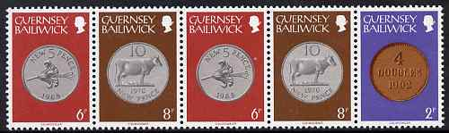Guernsey 1979-83 Booklet pane of 5 (2p, 2 x 6p, 2 x 8p) from Coins def set unmounted mint, SG 179a