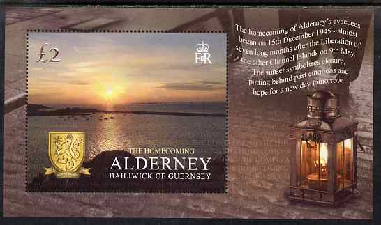 Guernsey - Alderney 2005 50th Anniversary of Return of War Evacuees perf m/sheet unmounted mint, SG MSA266