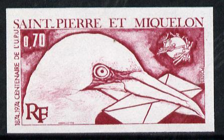 St Pierre & Miquelon 1974 UPU 70c (Gannet with Letter) imperf colour trial proof (SG 525) several different colour combinations available but price is for ONE unmounted mint