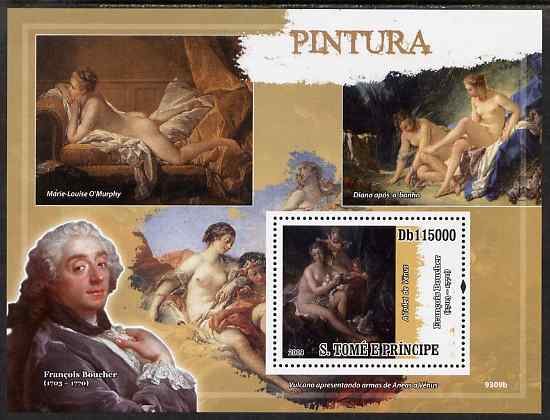 St Thomas & Prince Islands 2009 Nude Paintings perf s/sheet unmounted mint