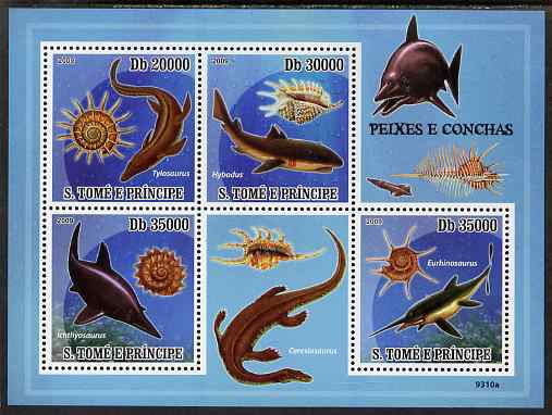 St Thomas & Prince Islands 2009 Pre-historic Fish & Shells perf sheetlet containing 4 values unmounted mint
