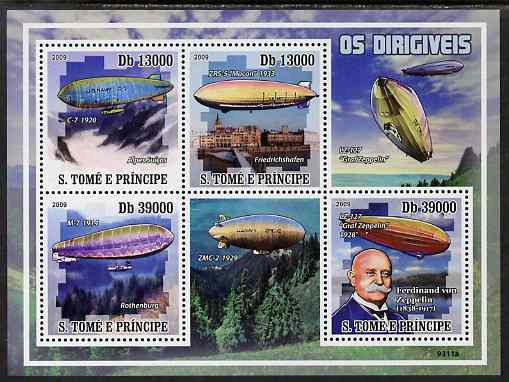 St Thomas & Prince Islands 2009 Airships & Zeppelins perf sheetlet containing 4 values unmounted mint
