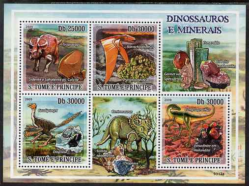 St Thomas & Prince Islands 2009 Dinosaurs & Minerals perf sheetlet containing 4 values unmounted mint