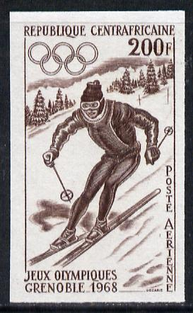 Central African Republic 1968 Mexico Olympics 200f (Downhill Skiing) imperf colour trial proof (several different combinations available but price is for ONE) as SG 159 unmounted mint