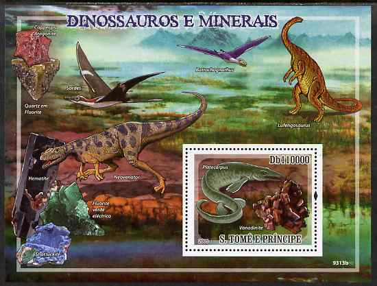 St Thomas & Prince Islands 2009 Dinosaurs & Minerals perf s/sheet unmounted mint