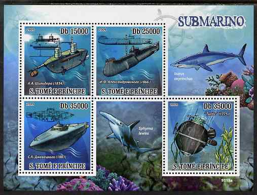 St Thomas & Prince Islands 2009 Submarines & Sharks perf s/sheet unmounted mint