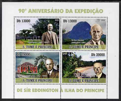 St Thomas & Prince Islands 2009 Sir Arthur Stanley Eddington perf sheetlet containing 4 values unmounted mint