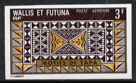 Wallis & Futuna 1975 Mats 3f (Pattern) imperf proof in issued colours (SG 239*)