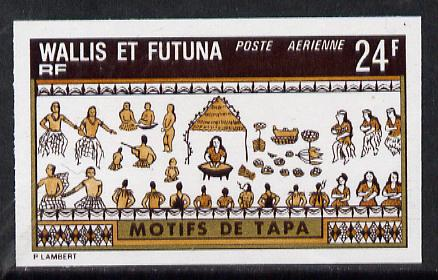 Wallis & Futuna 1975 Mats 24f (Villagers) imperf proof in issued colours (SG 240*)