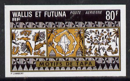 Wallis & Futuna 1975 Mats 80f (Fish, Shells & Dancers) imperf proof in issued colours (SG 242*)