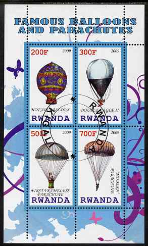 Rwanda 2009 Hot Air Balloons perf sheetlet containing 4 values fine cto used