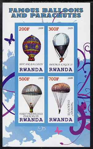 Rwanda 2009 Hot Air Balloons imperf sheetlet containing 4 values unmounted mint