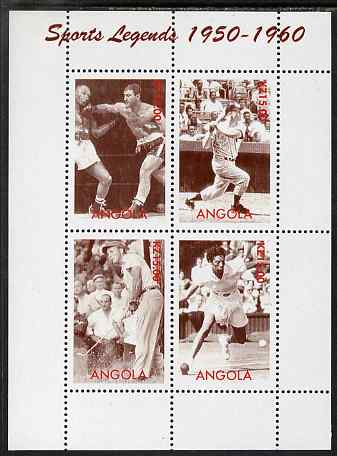 Angola 2000 Sports Legends 1950-1960 perf sheetlet containing 4 values (Boxing, Baseball, Golf & Tennis) unmounted mint. Note this item is privately produced and is offer...