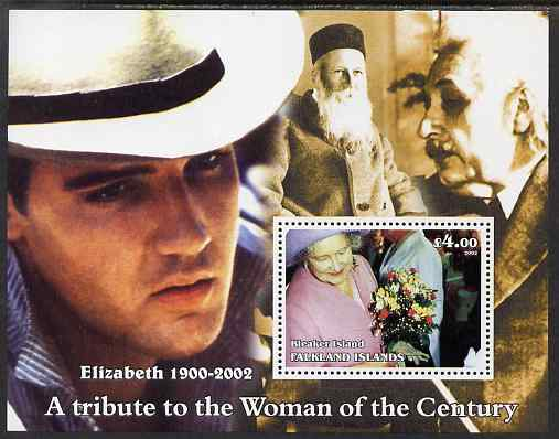 Bleaker Island (Falkland Islands) 2002 A Tribute to the Woman of the Century #5 Queen Mother perf souvenir sheet unmounted mint (Also shows Einstein, Henri Dunant & Elvis). Note this item is privately produced and is offered purely on its thematic appeal, it has no postal validity