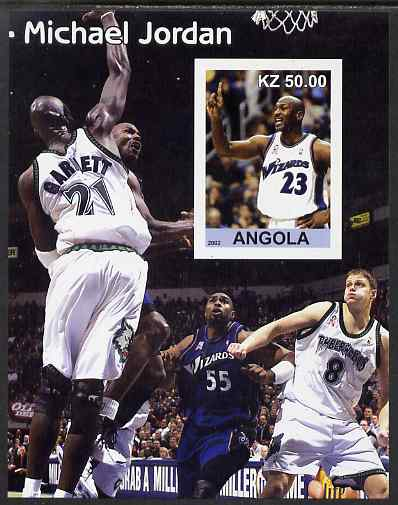 Angola 2002 Michael Jordan #2 imperf souvenir sheet unmounted mint. Note this item is privately produced and is offered purely on its thematic appeal