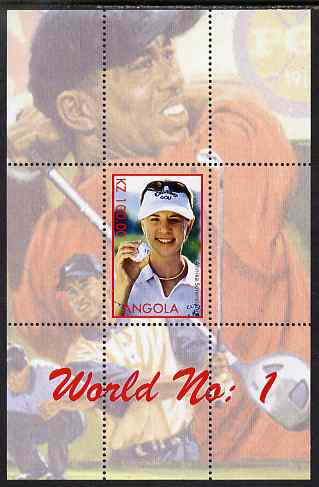 Angola 2000 World No.1 - Annika S�renstam (Golf) perf souvenir sheet unmounted mint. Note this item is privately produced and is offered purely on its thematic appeal