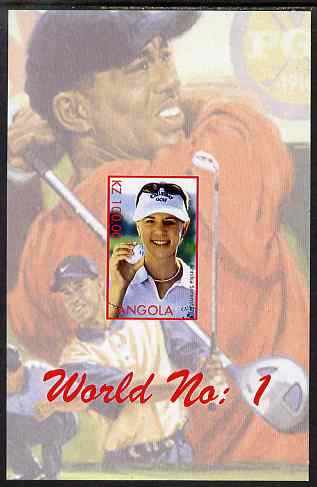 Angola 2000 World No.1 - Annika S�renstam (Golf) imperf souvenir sheet unmounted mint. Note this item is privately produced and is offered purely on its thematic appeal