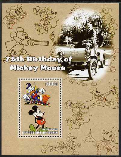 Benin 2003 75th Birthday of Mickey Mouse #08 perf s/sheet also showing Walt Disney & Chess unmounted mint. Note this item is privately produced and is offered purely on its thematic appeal