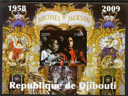Djibouti 2009 Michael Jackson imperf m/sheet unmounted mint. Note this item is privately produced and is offered purely on its thematic appeal