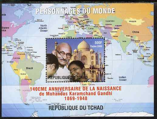 Chad 2009 World Personalities - Mahatma Gandhi perf s/sheet unmounted mint. Note this item is privately produced and is offered purely on its thematic appeal