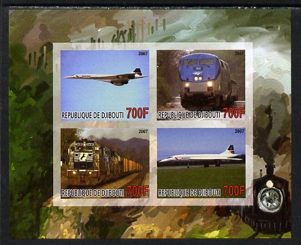 Djibouti 2007 Railways & Concorde #2 imperf sheetlet containing 4 values unmounted mint. Note this item is privately produced and is offered purely on its thematic appeal