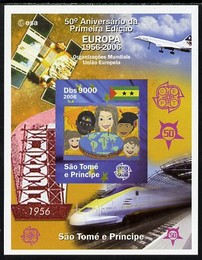 St Thomas & Prince Islands 2006 50th Anniversary of First Europa Stamp imperf souvenir sheet #3 Painting of Faces & Globe unmounted mint. Note this item is privately produced and is offered purely on its thematic appeal, stamps on europa, stamps on aviation, stamps on concorde, stamps on railways, stamps on arts, stamps on satellites, stamps on globes