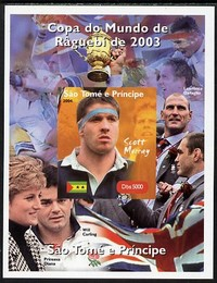 St Thomas & Prince Islands 2004 Rugby World Cup #2 Scott Murray imperf souvenir sheet unmounted mint. Note this item is privately produced and is offered purely on its thematic appeal