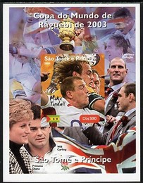 St Thomas & Prince Islands 2004 Rugby World Cup #4 Mike Tindall imperf souvenir sheet unmounted mint. Note this item is privately produced and is offered purely on its thematic appeal