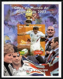 St Thomas & Prince Islands 2004 Rugby World Cup #5 Johnny Wilkinson imperf souvenir sheet unmounted mint. Note this item is privately produced and is offered purely on its thematic appeal