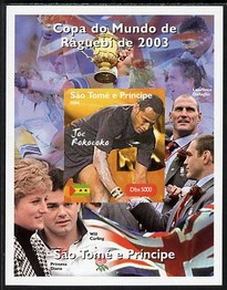 St Thomas & Prince Islands 2004 Rugby World Cup #6 Joe Rokocoko imperf souvenir sheet unmounted mint. Note this item is privately produced and is offered purely on its thematic appeal