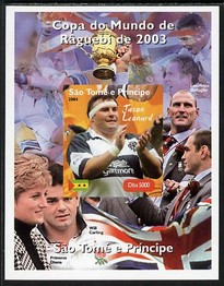 St Thomas & Prince Islands 2004 Rugby World Cup #7 Jason Leonard imperf souvenir sheet unmounted mint. Note this item is privately produced and is offered purely on its thematic appeal