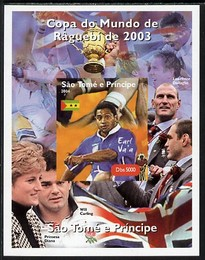 St Thomas & Prince Islands 2004 Rugby World Cup #8 Earl Va'a imperf souvenir sheet unmounted mint. Note this item is privately produced and is offered purely on its thematic appeal