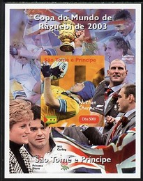 St Thomas & Prince Islands 2004 Rugby World Cup #9 Nathan Sharpe imperf souvenir sheet unmounted mint. Note this item is privately produced and is offered purely on its thematic appeal