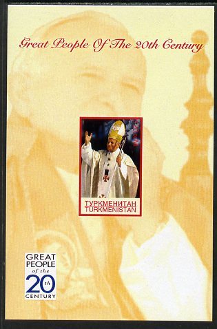 Turkmenistan 1999 Great People of the 20th Century (Pope) imperf souvenir sheet unmounted mint