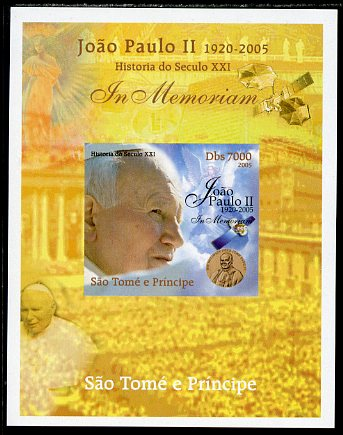 St Thomas & Prince Islands 2005 In Memoriam #1 Pope John Paul II imperf s/sheet unmounted mint. Note this item is privately produced and is offered purely on its thematic appeal