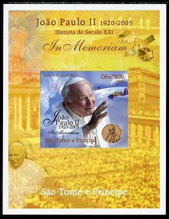 St Thomas & Prince Islands 2005 In Memoriam #2 Pope John Paul II imperf s/sheet unmounted mint. Note this item is privately produced and is offered purely on its thematic appeal