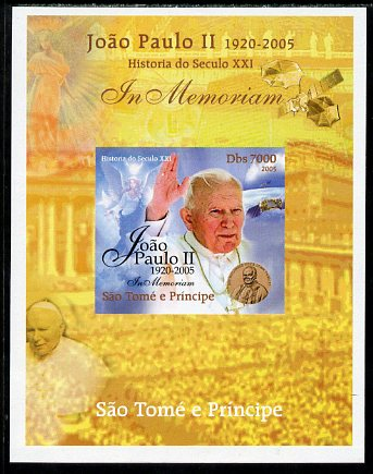 St Thomas & Prince Islands 2005 In Memoriam #3 Pope John Paul II imperf s/sheet unmounted mint. Note this item is privately produced and is offered purely on its thematic appeal