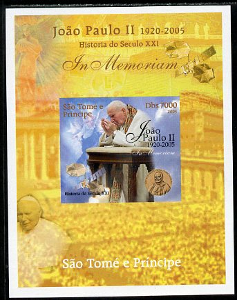 St Thomas & Prince Islands 2005 In Memoriam #4 Pope John Paul II imperf s/sheet unmounted mint. Note this item is privately produced and is offered purely on its thematic appeal