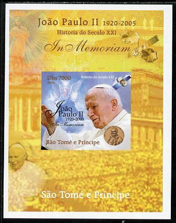 St Thomas & Prince Islands 2005 In Memoriam #5 Pope John Paul II imperf s/sheet unmounted mint. Note this item is privately produced and is offered purely on its thematic appeal