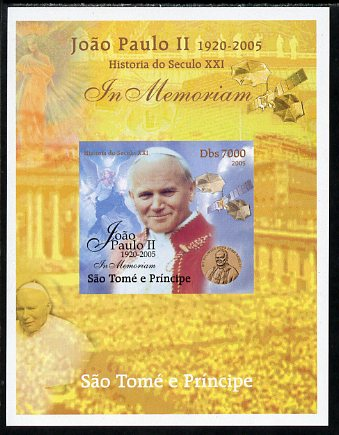 St Thomas & Prince Islands 2005 In Memoriam #7 Pope John Paul II imperf s/sheet unmounted mint. Note this item is privately produced and is offered purely on its thematic appeal