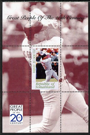 Somaliland 1999 Great People of the 20th Century - Mark McGwire (Baseball) perf souvenir sheet unmounted mint. Note this item is privately produced and is offered purely on its thematic appeal
