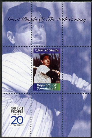 Somaliland 1999 Great People of the 20th Century - Joe Di Maggio (Baseball) perf souvenir sheet unmounted mint. Note this item is privately produced and is offered purely on its thematic appeal