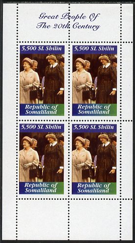 Somaliland 1999 Great People of the 20th Century - Queen Mother & Princess Diana perf sheetlet containing 4 values unmounted mint. Note this item is privately produced and is offered purely on its thematic appeal