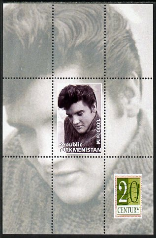 Turkmenistan 1999 Elvis Presley perf souvenir sheet unmounted mint