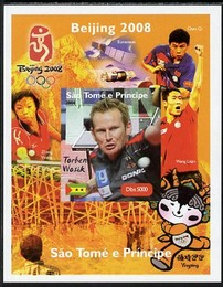 St Thomas & Prince Islands 2004 Beijing Olympic Games - Table Tennis Stars #2 - Torben Wosik imperf souvenir sheet unmounted mint. Note this item is privately produced and is offered purely on its thematic appeal