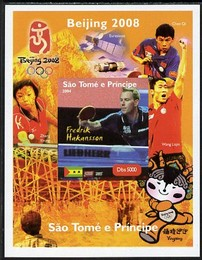 St Thomas & Prince Islands 2004 Beijing Olympic Games - Table Tennis Stars #8 - Fredrik Hakansson imperf souvenir sheet unmounted mint. Note this item is privately produced and is offered purely on its thematic appeal