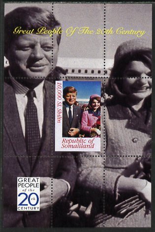 Somaliland 1999 Great People of the 20th Century - JFK & Jackie perf souvenir sheet unmounted mint