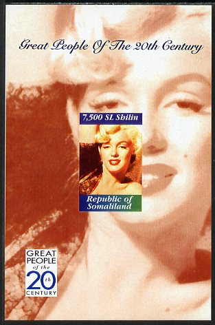 Somaliland 1999 Great People of the 20th Century - Marilyn Monroe imperf souvenir sheet unmounted mint. Note this item is privately produced and is offered purely on its thematic appeal