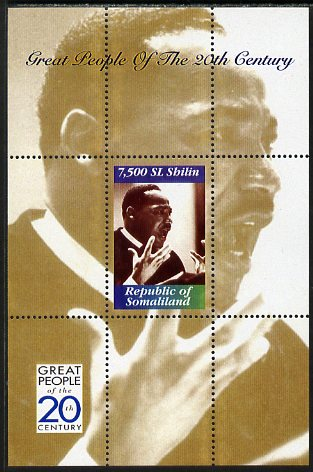 Somaliland 1999 Great People of the 20th Century - Martin Luther King perf souvenir sheet unmounted mint. Note this item is privately produced and is offered purely on its thematic appeal
